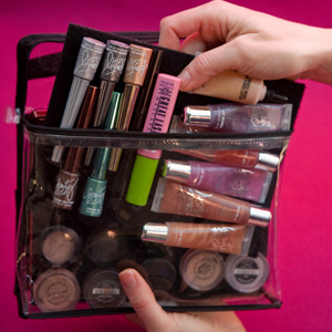 organize makeup on velcro board web